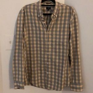 J Crew Button Down Plaid Jaspe Shirt Slim Fit L